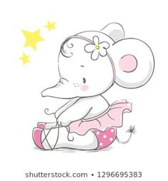 Hand drawn vector illustration of a cute baby elephant ballerina in a pink tutu.