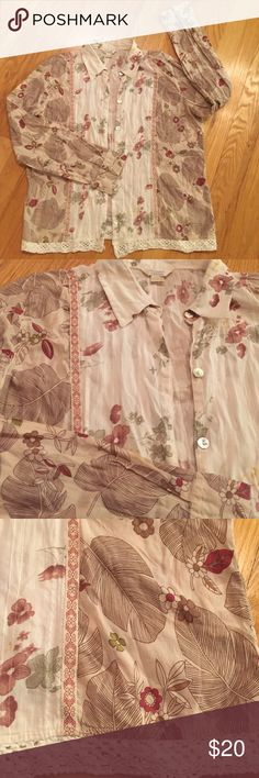 Christopher & Banks cotton Longsleeved button-down Beautiful soft organic floral pattern in soft feminine colors pink, taupe, cream with mother of pearl buttons. 100% cotton with a cotton crochet hemline Christopher & Banks Tops Button Down Shirts