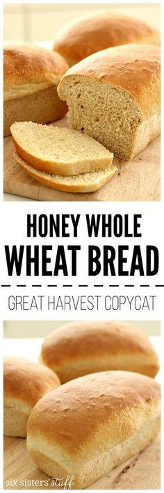 Homemade Honey Whole Wheat Bread on www.sixsistersstuff.com (Great Harvest Copycat Recipe!)