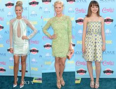 Teen Choice Awards: Anna Camp: Emilio Pucci powder-blue sequinned long-sleeved dress with lace and point d'esprit inserts and an open back, silver Rupert Sanderson 'Elba' pumps, vintage jewels, a Kotur clutch and a chic topknot. Brittany Snow: Oliver Tolentino green floral lace dress with a nude underlay,  Jimmy Choo 'Vamp' sandals, and coral Oroton clutch. Joey King: pretty lime-green Moschino strapless printed dress with embellishments, styled with gold sandals and a subtle pendant…