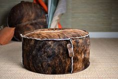 "Maxim Serengeti Brindle Hide Pouf Ottoman Inside Out Stitching Each Piece Varies Due to Natural Hide Available in Variety of Leathers, Fabrics and COM MECOX - 2950.00 (30"")"