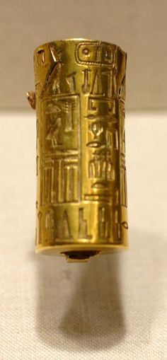 boston_03_2006 519  Gold seal of office, 5th Dynasty reign of Djedkare Isesi (reigned 2414-2375 BC) [68.115], reported to be made from Northwest Anatolia Gold.  Cylinder seals hearing royal and private names with titles are known from both the Early Dynastic Period and the Old Kingdom.