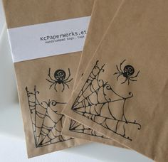 Halloween-Hand stamped Kraft Paper Bags-Spider Web with Spider- candy and or gift bags-Perfect for Halloween treats-Set of 10 on Etsy, $3.50