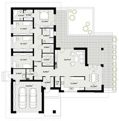 Rzut TP Arteo 3 CE Modern Bungalow Exterior, Bungalow House Design, Small House Design, One Storey House, Revit, Modern Barn House, House Blueprints, Flat Roof, Concept Architecture