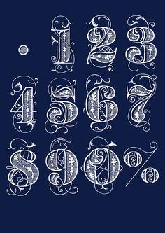 Números de mesa en blanco sobre fondo azul