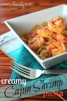 Creamy Cajun Shrimp Pasta from favfamilyrecieps.com #cajun #pasta #shrimp