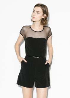 Tulle panel jumpsuit by MANGO Short jumpsuit with tulle top panel and detachable skinny belt. Round neck, cap sleeves and cut-out detail back with button fastening. Twin side pockets and back zip fastening.