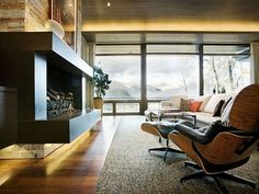 Astounding Eames Chairs And Fireplace www.bedhomes.com