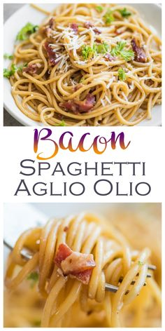 Bacon Spaghetti aglio olio is a twist on the. Bacon Spaghetti aglio olio is a twist on the classic aglio e Olio made with the fat left in the pan left after cooking bacon. Bacon Pasta Recipes, Chef Recipes, Italian Recipes, Dessert Recipes, Cooking Recipes, Healthy Recipes, Shrimp Recipes, Yummy Recipes, Spaghetti Aglio Olio Recipe