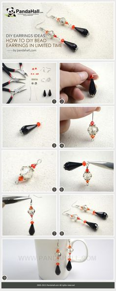 Using two large focal beads and three small ones work as paving elements, learn to diy bead earrings in very limited time. Thus, for the novices, I recommend the diy earrings ideas.