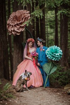 Magical Woods Wedding - I love the costumes and fairy tale feel to this! So Alice in Wonderland with the colors and oversized flowers.