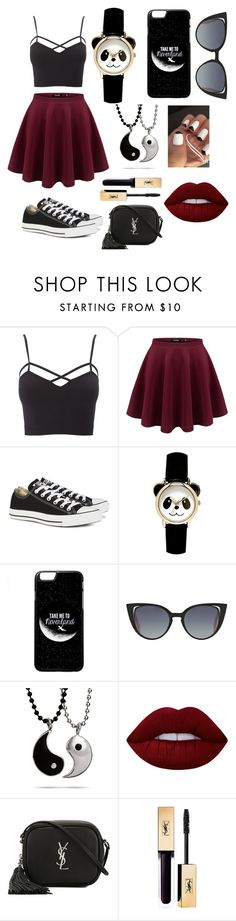"""✌"" by ladannystyles02 on Polyvore featuring Charlotte Russe, Converse, Fendi, Lime Crime and Yves Saint Laurent"