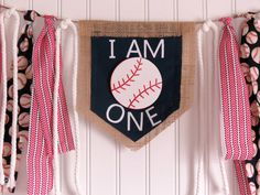 Baseball highchair banner first birthday red by ThePartyOrchard