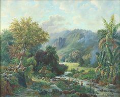 Olieverfschildering voorstellend het Tenggergebergte nabij de dessa Tumpang, Malang door M.E.H.R. van den Kerkhoff. 1898 (voor),  58 x 50 cm