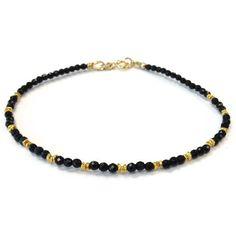 Thin Black Bracelet Onyx Jewelry Gemstone by jewelrybycarmal, $40.00