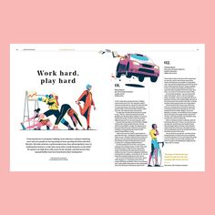 'Work hard, play hard' An article on the extreme hobbies of CEOs for Audi magazine. Thanks to AD Emma Try illustration Editorial Design Layouts, Magazine Layout Design, Magazine Layouts, Layout Inspiration, Graphic Design Inspiration, Audi, Page Design, Cover Design, Design Design