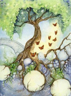 Fantasy Fine Art Print - 5x7 - The Butterfly Tree - whimsical, secret garden, nature, green, paradise
