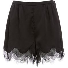 Lily Lace Trim High Waist Satin Shorts ($68) ❤ liked on Polyvore featuring shorts, bottoms, black, high-rise shorts, high rise shorts, satin shorts, highwaist shorts and high waisted shorts
