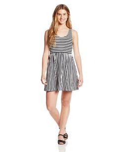 Billabong Juniors Early Sunshine Fit and Flare Dress, Black/White, X-Small   - Click image twice for more info - See a larger selection of striped dress at http://azdresses.com/category/dress-categories/dresses-by-type/striped-dress/ - woman, women, women fashions, dresses, casual dress, wear to work dresses, gift ideas« « AZdresses.com