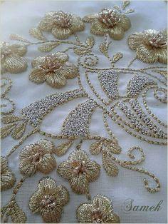 Beginners Silk Ribbon Embroidery Designs Embroidery Designs On Clothes. Zardosi Embroidery, Hand Embroidery Dress, Tambour Embroidery, Couture Embroidery, Silk Ribbon Embroidery, Embroidery Needles, Beaded Embroidery, Embroidery Patterns, Couture Beading