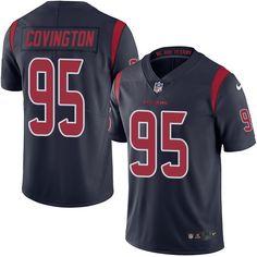 Men's Nike Houston Texans #95 Christian Covington Elite Navy Blue Rush NFL Jersey