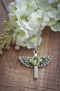 Bullet Necklace, Angle wing and Cross on Stainless Steel Chain Shotgun Shell Jewelry, Angle Wings, Bullet Necklace, Handcrafted Jewelry, Unique Jewelry, Stainless Steel Chain, Shells, Pendant Necklace, Handmade Gifts