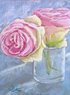roses in vase. Pierre de Ronsard. soft pastels http://poussieresdepastels.blogspot.com