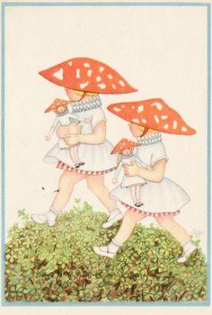 Vintage Children's Illustration, Girls with mushroom hats