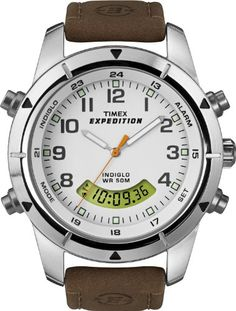 Timex Men`s T49828 Expedition Rugged Chronograph Analog-Digital Brown Leather Strap Watch $56.90 (save $3.05)