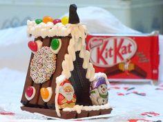 KitKat Häuser ohne backen - Lebkuchenhaus, Hexenhaus aus KitKat Waffeln für Weihnachten