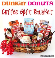 Dunkin Donuts Coffee Gift Basket!  The Frugal Girls   1000 Coffee Gift Baskets, Gift Baskets For Men, Themed Gift Baskets, Raffle Baskets, Coffee Gifts, Coffee Coffee, Golf Christmas Gifts, Christmas Baskets, Christmas 2019