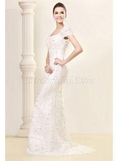 Unique Square Beading Lace Dropped Waist Mermaid Wedding Dress