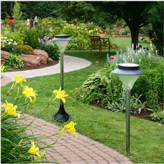 pewter solar garden path lights | Shipping-20LED-Solar-LED-Path-Light-Walkway-Light-Fence-Outdoor-Garden ... Solar Lamp Post Light, Lamp Post Lights, Lawn Lights, Bollard Lighting, Solar Lanterns, Garden Lamps, Beautiful Gardens, Outdoor Gardens, Exterior