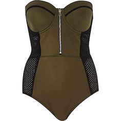 Khaki mesh insert swimsuit - swimsuits - swimwear / beachwear - women