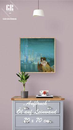 """""""Aufbruch"""", Öllasuren auf Leinwand, 70 x 70 cm Als ich im Atelier gerade an diesem Werk arbeitete, bekam ich Besuch einer guten Bekannten. Sie erkannte sofort die Stadt im Hintergrund des Bildes und erzählte, dass sie vor langer Zeit einige Jahre in Shanghai gelebt habe. In der Nähe ihrer Wohnung habe sie regelmäßig Affen gesehen. Oft frage sie sich, ob es diese Affenfamilien wohl heute noch dort geben würde oder ob sie durch den wachsenden Moloch der Stadt vertreiben worden seien. Roman, Art Prints, Artwork, Shanghai, Atelier, Artworks, Canvas, Painting Art, Ad Home"""