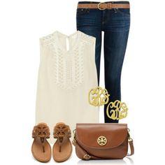 simple~ whtie chiffon top, jeans, brown sandals, nrown crossbody purse,gold monogram earrings