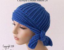 Crochet Pattern Hat, Flapper Style Cloche with Side Tie, Easy Women's Crochet Hat Pattern, 1920s Flapper Hat PDF - Instant Digital Download