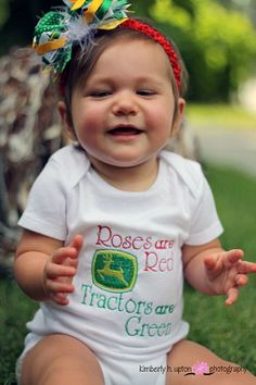 R Rader This made me think of you and your kids :) Roses are Red, Tractors are Green Little Cowgirl, My Little Girl, My Baby Girl, Our Baby, Little Babies, Little Ones, Cute Babies, Baby Kids, Baby Baby