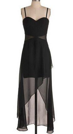 Sexy A-line Homecoming Dress,Spaghetti High-low Homecoming Dress,Black Chiffon