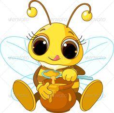 Bee Eating Honey