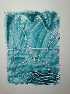 """Monotypia farbą olejną na papierze A3  pt """"Cienie drzew w górach""""  OIL MONOTYPE ON PAPER"""