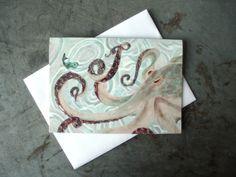 Octopus Art Greeting Card  Beach  Ocean Art by PatWarwickTiles, $3.50