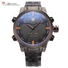 Sawback Anjo Relógio Do Esporte TUBARÃO Dual Time LED Digital Data Dia Homens Cinta de Aço Inoxidável Relógios de Quartzo analógico Preto Vermelho/SH197(China (Mainland))