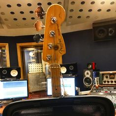 The Fender bass is keeping its head above water in the studio. #fender #bass #guitar