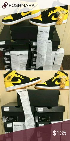 Jordan 1 Mid Yellow DeadStock 100% Authentic Receips And Boxing included Mens in Womens Sizes Text 404-602-2558 for sizing and offers Jordan Shoes Sneakers