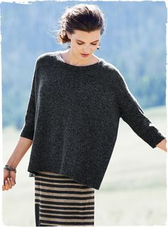 In frothy, woolen-spun baby alpaca, the oversized pullover has clean, architectural lines with drop shoulders, ¾-sleeves and round neck.