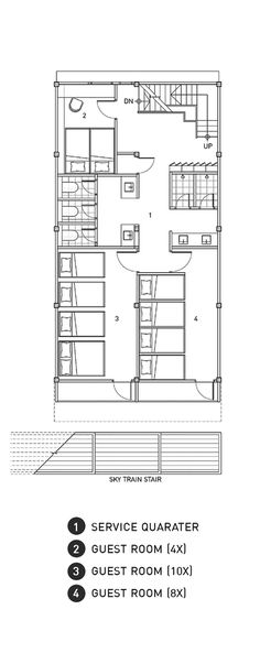 small hotel Adventure Hostel,Second Floor Plan Dorm Design, Small Room Design, Hotel Floor Plan, House Floor Plans, Hostels, Capsule Hotel, Floor Plan Layout, Student House, Ground Floor Plan