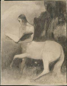 Odilon Redon (1840-1916), Reading Centaur (Centaure lisant) - #artisticaMENte - @Libriamo Tutti