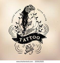 Illustration about Vector tattoo studio logo templates on dark background. Illustration of badge, drawing, decoration - 60216574 Tatuajes Tattoos, Irezumi Tattoos, Studio Logo, Mural Tattoo, Design Tattoo, Logo Design, Graphic Design, Studio Ghibli, Girl Tattoos