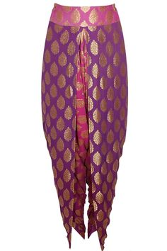 Maroon peacock embroidered peplum kurta with purple and pink dhoti pants available only at Pernia's Pop Up Shop.